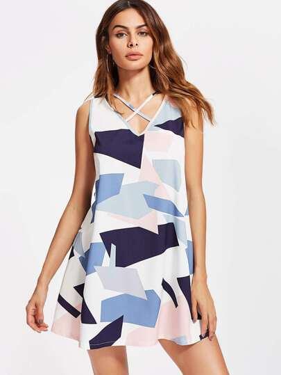 Strappy V-neckline Abstract Geo Print Dress