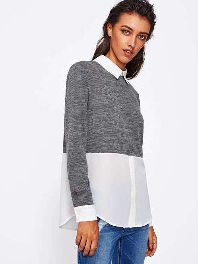 Heather Knit 2 In 1 Sweatshirt