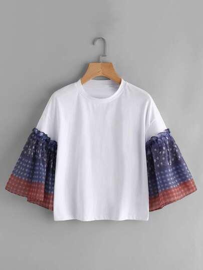 Tee-shirt manche papillon contrasté avec la chute de l\'épaule