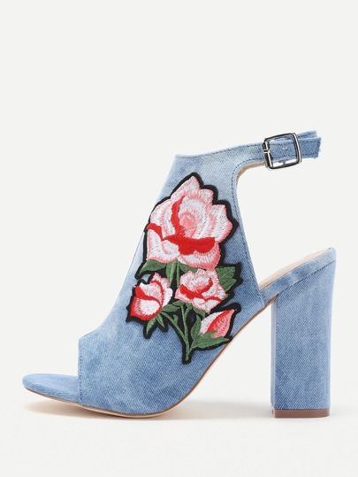 Rose Applique Slingback Peep Toe Block Heels