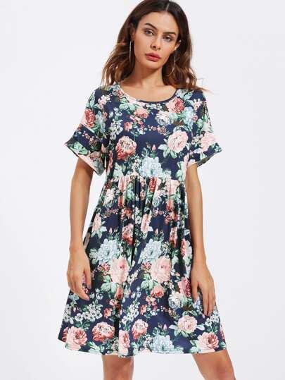 Flower Print Roll Cuff Smock Tee Dress