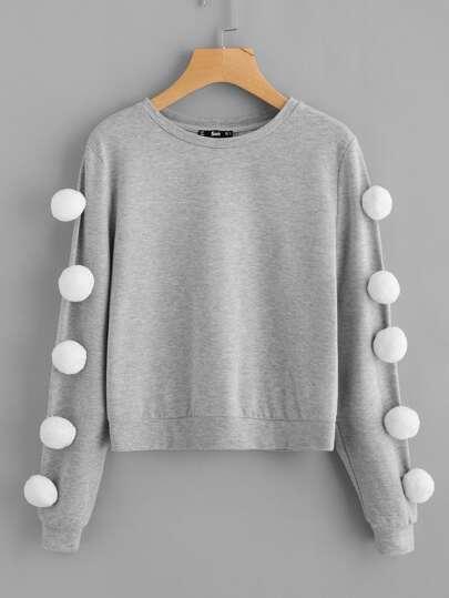 Pom Pom Sleeve Heather Knit Sweatshirt