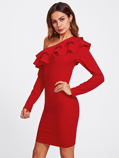 Flounce Asymmetric Shoulder Form Fitting Dress