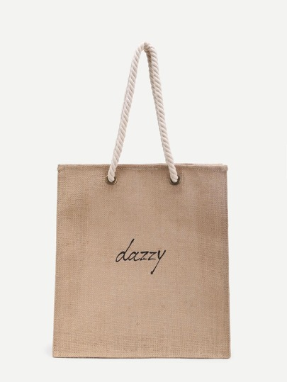 Letter Embroidery Double Handle Tote Bag