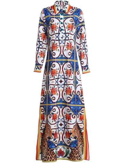 Tribal Print Split Maxi Dress