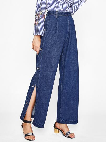 Zip Back Buttoned Slit Side Wide Leg Jeans