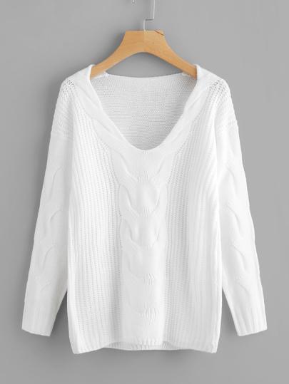 Suéter tejido de cable de hombros caídos