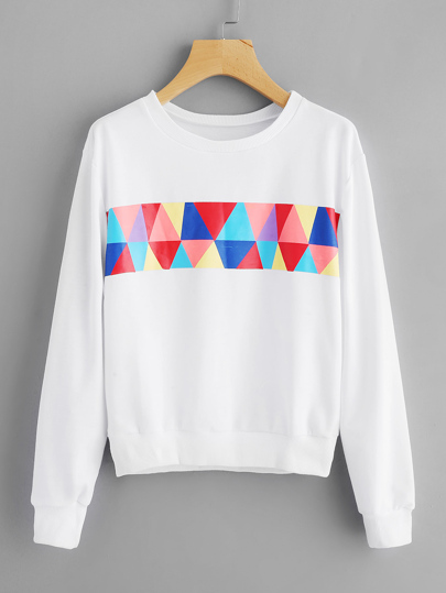 Geo Print Ribbed Trim Sweatshirt