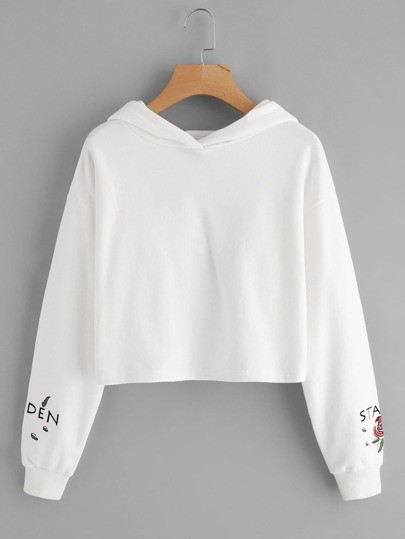 Drop Shoulder Rose Embroidered Crop Hoodie
