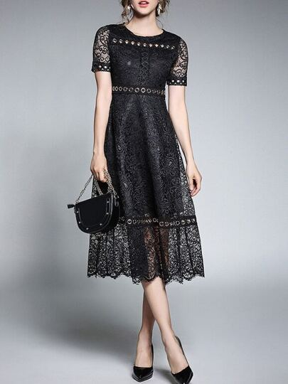 Hollow Lace A-Line Dress