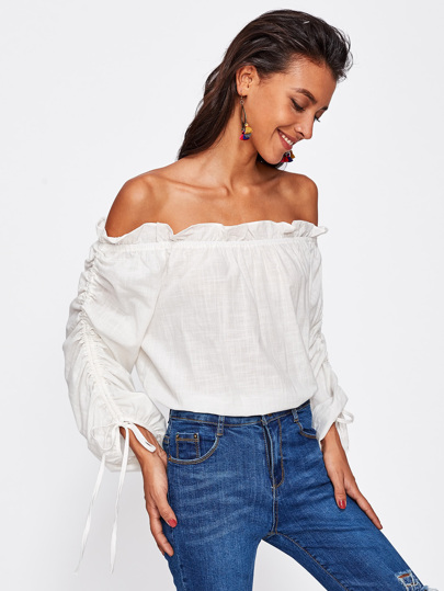 Frill Trim Bardot Drawstring Sleeve Top