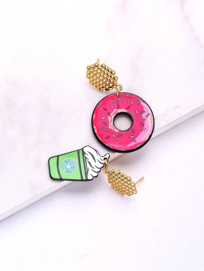 Donuts & Ice Cream Design Mismatch Earrings