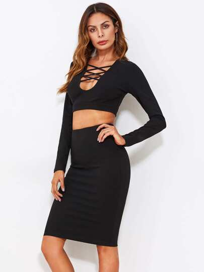 Crisscross Front Crop Top And Skinny Skirt Set