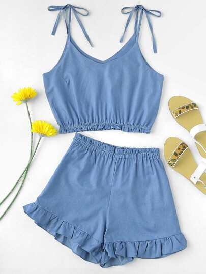 Tie Shoulder Crop Cami Top With Ruffle Hem Shorts