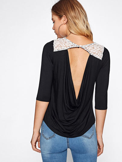 Contrast Lace Yoke Open Back Draped Detail Tshirt
