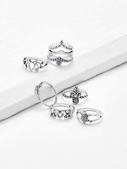 Elephant & Leaf Ring Set 7pcs
