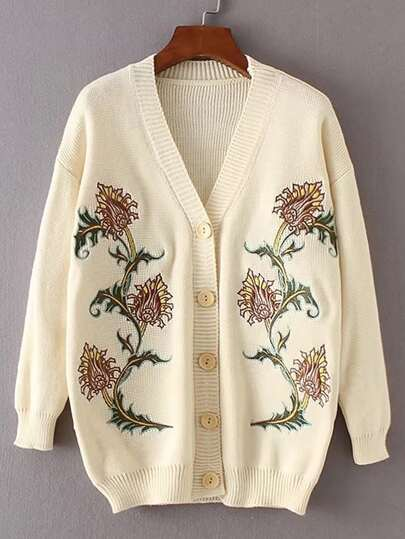 Drop Shoulder Seam Flower Embroidery Cardigan