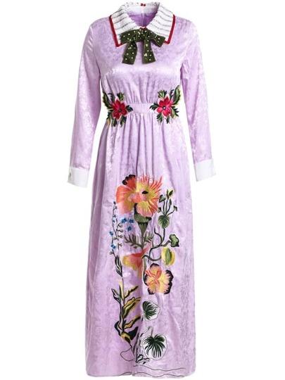 Bowknot Applique Pouf Jacquard Dress