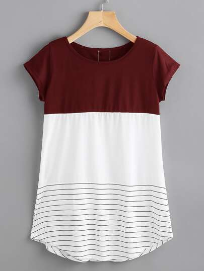 Contrast Panel Lace Applique Striped Tee