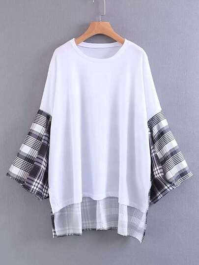 Contrast Checkered Drop Shoulder High Low Top