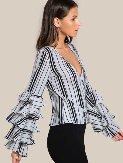Striped Ruffle Sleeve Wrap Top BLACK WHITE
