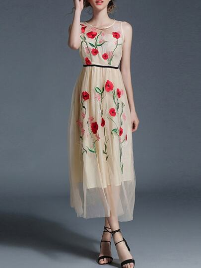 Flowers Embroidered Gauze Dress