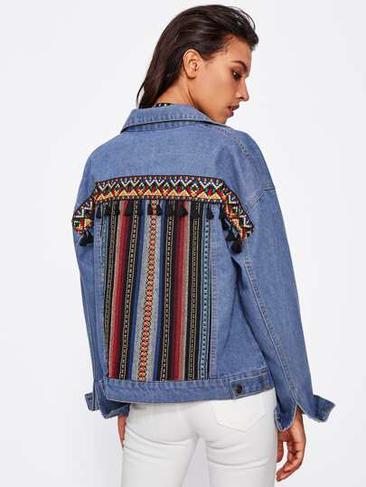 Tassel Embroidered Back Drop Shoulder Denim Jacket