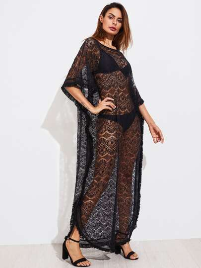 Fringe Trim Lace Poncho Dress
