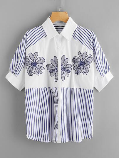 Contrast Panel Embroidery Striped Shirt