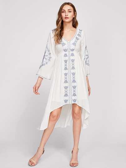 High Waist Dip Hem Embroidered Dress