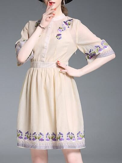 Flowers Embroidered A-Line Dress
