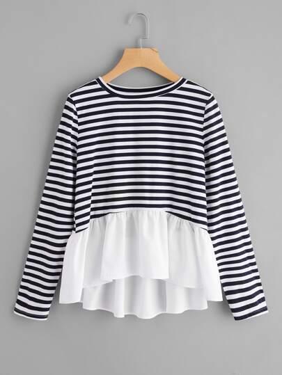 Tee-shirt trapèze contrasté à rayures avec des plis
