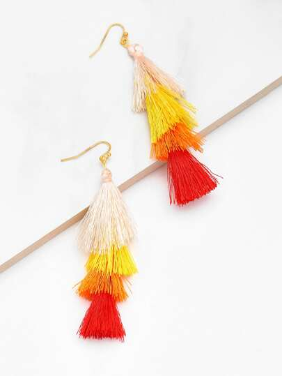 Charm Layered Tassel Drop Earrings