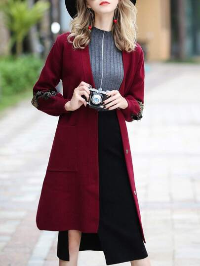 Wings Embroidered Knit Coat