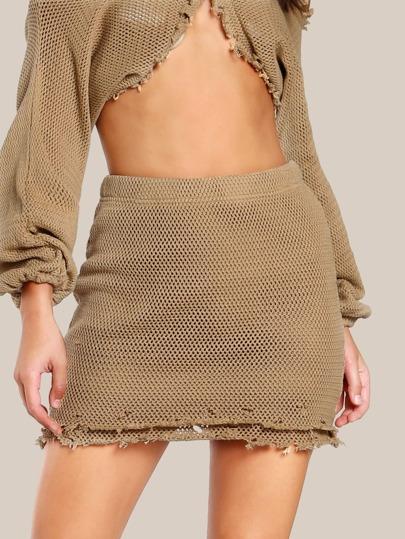 Raw Hem Knitted Skirt MOCHA