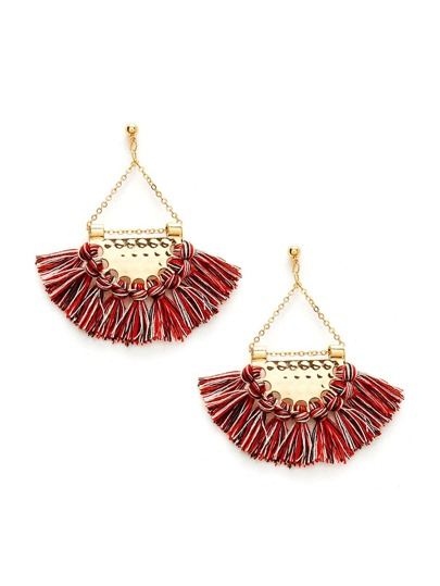 Mini Tassel Fan Shaped Earrings
