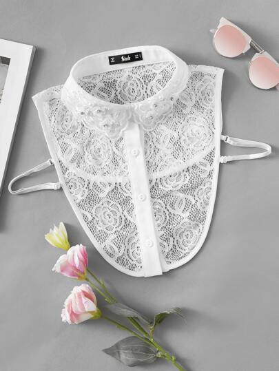 Beading Detail Floral Lace Collar