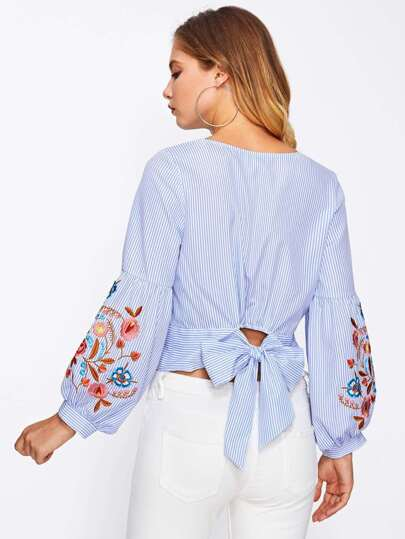 Bow Back Embroidered Puff Sleeve Pinstripe Blouse