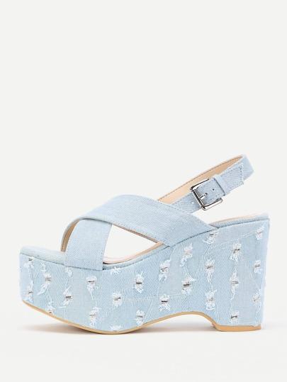 Cross Strap Distressed Denim Wedge Sandals