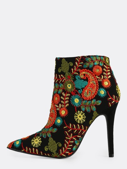 Floral Embroidered Point Toe Heel Boots BLACK