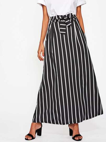 Vertical Striped Self Tie Longline Skirt