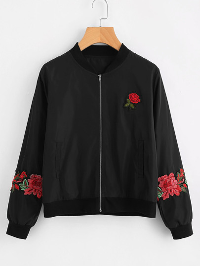 Embroidered Rose Patch Zip Up Jacket