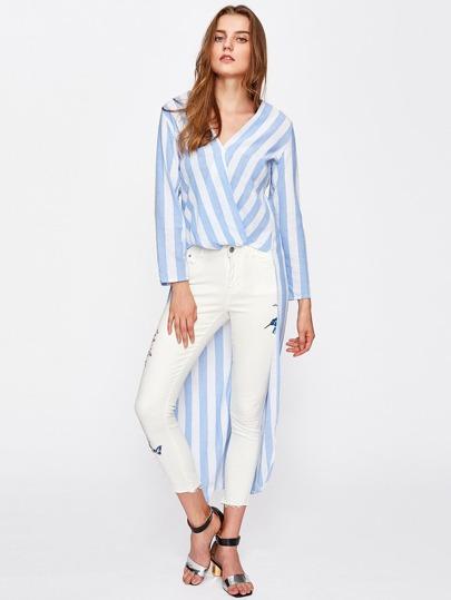 Asymmetrische gewickelte Bluse mit Streifen
