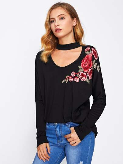 Choker Neck Flower Patch Tee