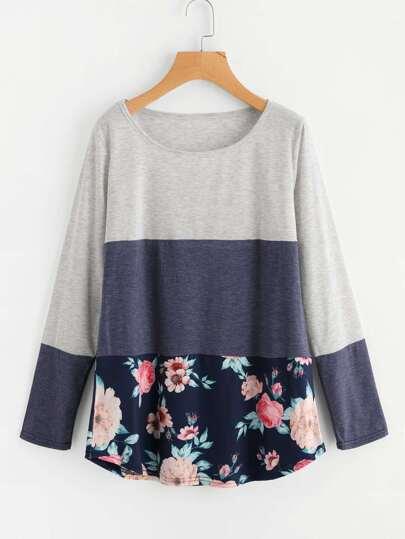 Cut und Sew T-Shirt mit Blumen