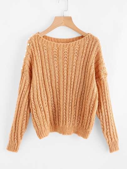 Sweater détail de perle fausse avec la chute de l\'épaule