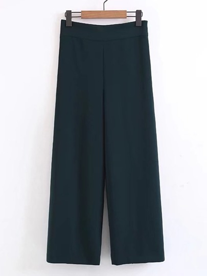 Zipper Side Wide Leg Pants