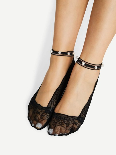 Lace Liner Socks With Faux Pearl Ankle Strap