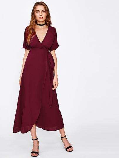 Plunging V-neckline Overlap Dress
