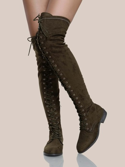 Lace Up Faux Suede OTK Boots OLIVE